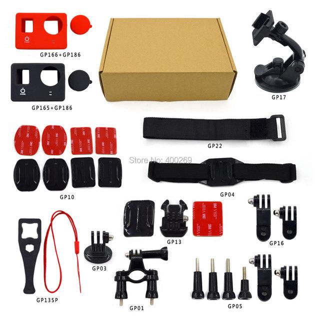Gopro conjunto de combinação acessórios Ir pro Bicicleta Da Bicicleta do Guiador + Chest strap + lens cap Silicone + ventosa + Power chave + 3 M Adesivo GP-K08