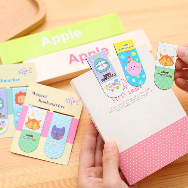 Etudiant 2 Pcs Lot Bricolage Mignon Kawaii Lapin Chat Livre Marque Dessin Anime Renard Signets Magnetiques Pour Livres Coreen Papeterie 3082