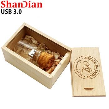 SHANDIAN USB 3.0 LOGO customer Glass drift bottle Cork USB + wooden box USB Flash Drive pendrive 4GB 8GB 16GB 32GB wedding gift