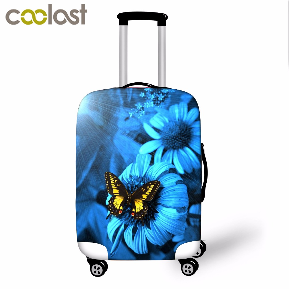 Flower Print Luggage Cover Elastic 18-32 Inch Girls Suitcase Protective Cover Seyahat Case Cover Voyages Travel Accessories
