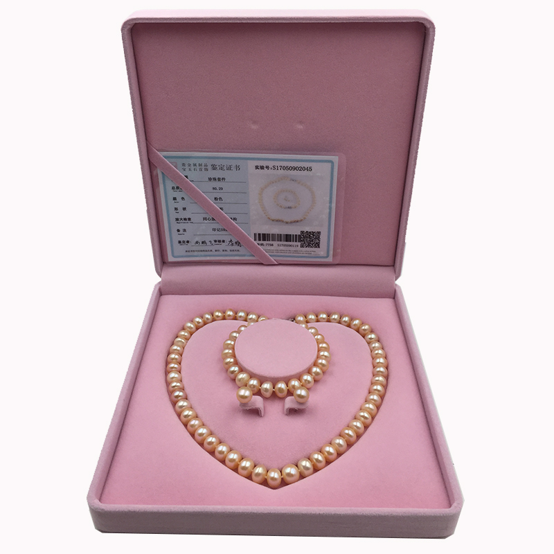 Sinya Natural pearls strand necklace bracelet earring set with pink purple white for optional pearl dia 10-11mm for Mother women