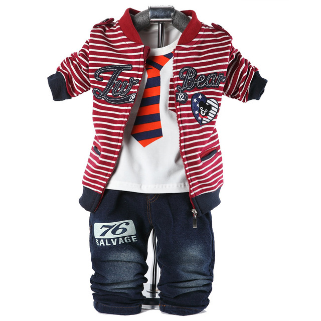 New Spring high quality Baby Boys Clothing set Horizontal stripes Jacket + t-shirt + trousers 3 piece set children's clothes