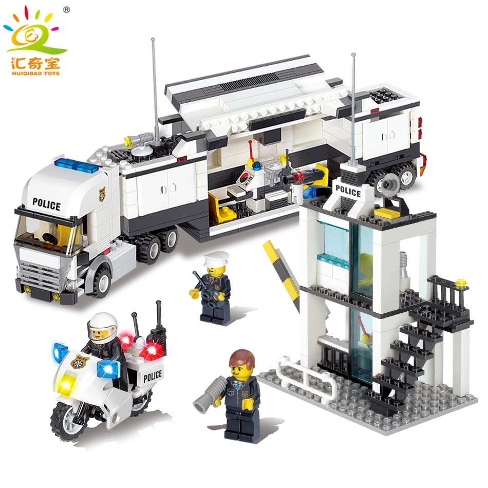 Police Station Trucks Cars 3D Model Buildings Blocks Bricks Sets Compatible Legoed City Swat Figures Classic Toys For Children bohs building blocks city police station coastal guard swat truck motorcycle learning