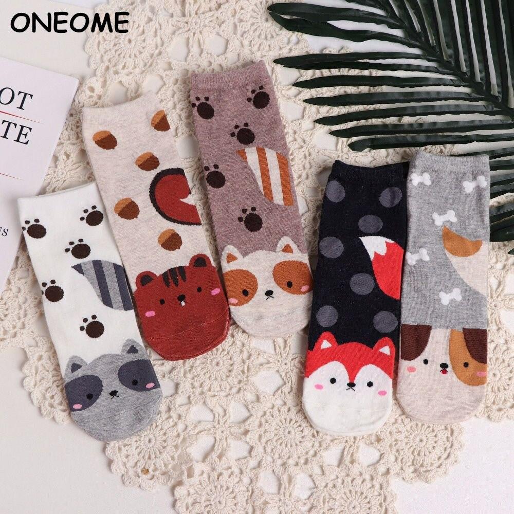 Fashion Cartoon Socks Dog Cat Women Footprints 3D Animals Style  Warm Cotton Socks Lady Floor Socks for Female
