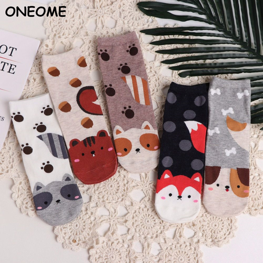 Fashion Cartoon Socks Dog Cat W