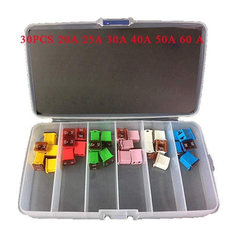 30 pc automobile profil bas JCASE boîte en forme de fusible Kit 20A 25A 30A 40A 50A 60 A pour camionnettes voitures et suv