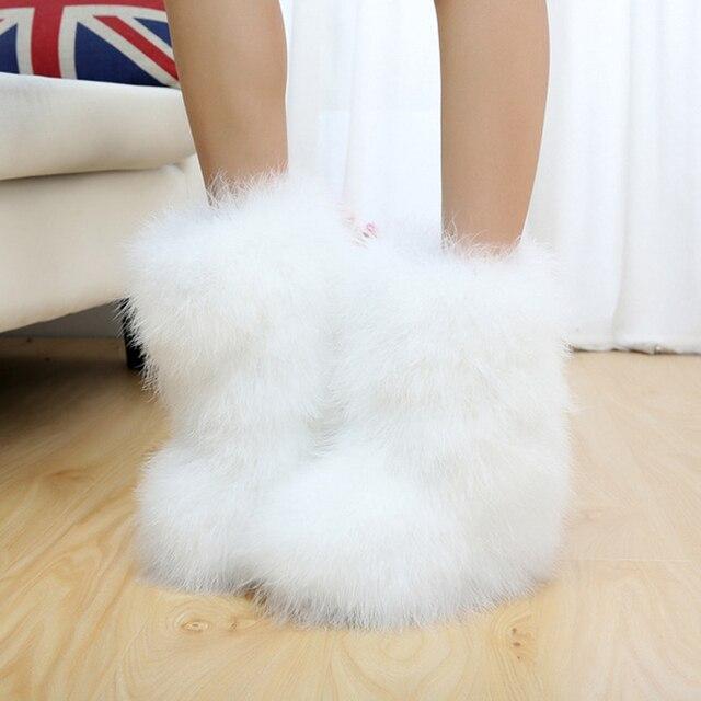 Люкс 100% Натуральная Кожа с Естественным Животное Перо Женщина Мило меховой Подкладке Зима Furry Белый Половина снега Сапоги Обувь для женщины