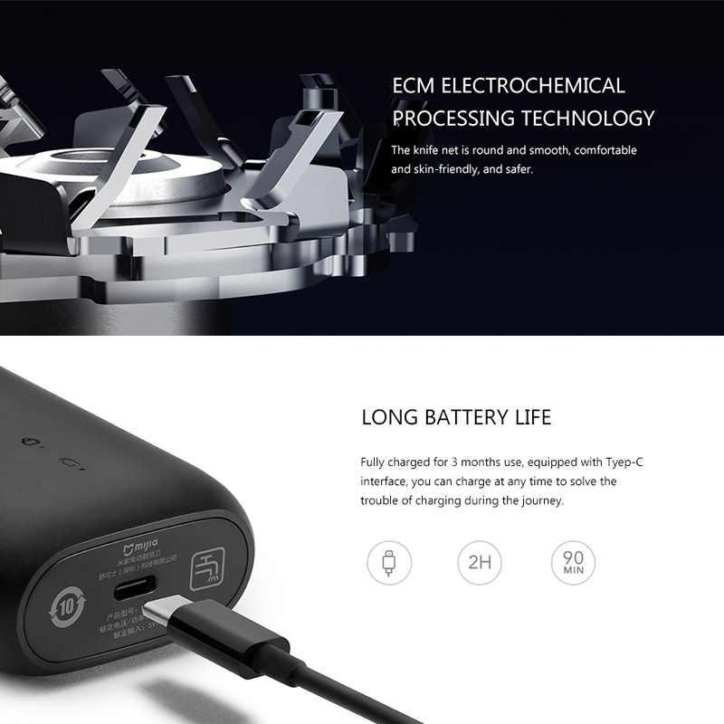 Asli Mijia MSX201 Listrik Alat Cukur untuk Pria Berputar 2 Floating Head Portable Tahan Air USB Isi Ulang Pisau Cukur