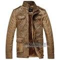 El otoño y el invierno PU Collar de cuero hombres de negocios de los hombres ocasionales de cuero de cuero con cremallera recto chaqueta de la motocicleta
