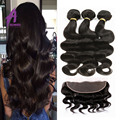 13x4inch Ear To Ear Lace Frontal Closure With Bundles 7A Grade Mink Brazilian Body Wave Virgin Hair 3 Bundle With Closure Human