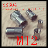 50pcs/lot High Quality M12 Stainless Steel Countersunk Insert Rivet Nut