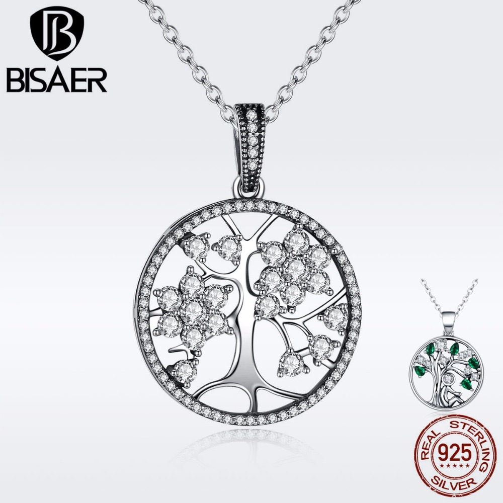 BISAER Tree of Life 925 Sterling Silver Family Tree of Life Pendant Necklaces Girls for Women Authentic Silver Jewelry Collar купить недорого в Москве