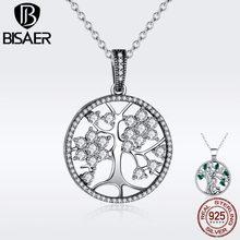 4d9697e8a6c4 BISAER Árbol de la vida de Plata de Ley 925 de la familia del árbol de la  vida colgante collares chicas para mujeres de plata au.