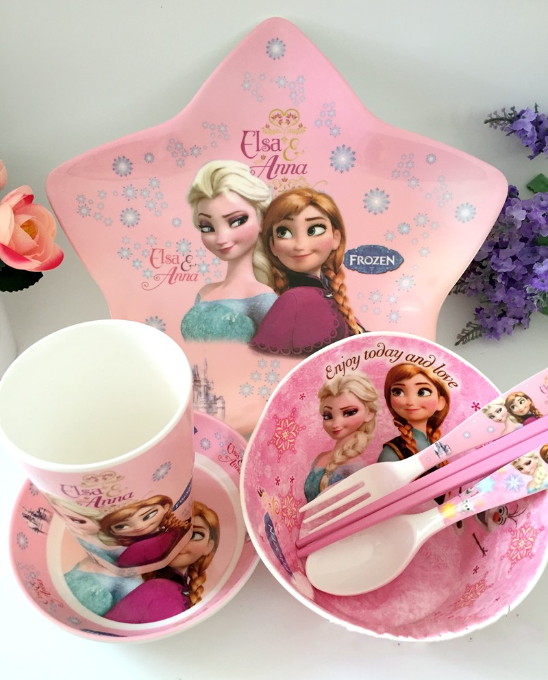 Children 's cutlery set of ice and snow edge baby plate bow cup fork fork tableware package, melamine baby tableware set