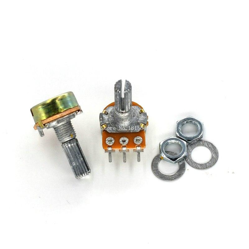 Potenciômetro, 5 peças wha2 3pin 20mm b1k pro b5k b10k b20k b50k b100k b250k b500k pro 1 k 2 k 5 k 10 k 20 k 50 k 100 k 250 k 500 k 1 m