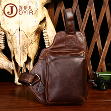 JOYIR Mens Sling Crossbody Bag Crazy Horse Genuine Leather Chest Bags Men Trip Messengers Casual Pack Bolso Hombre