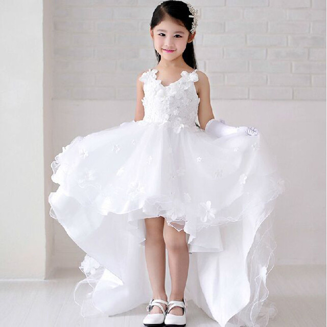 b547ffb82 Children Short Front Long Back Wedding Dress with Flower Lace Train Prom  White Kid Girl Formal Dresses Size 3 To 12 14