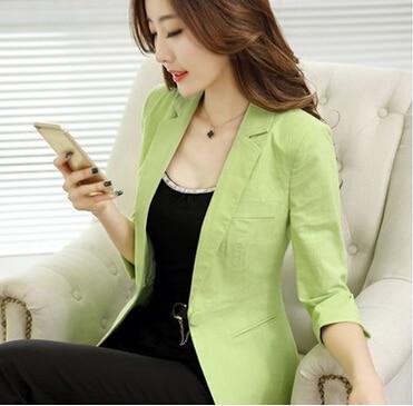 New Brand Blazer Women Linen Casual Suit Women Blazers Slim Fit Regular Single Button Flax Suit Jacket