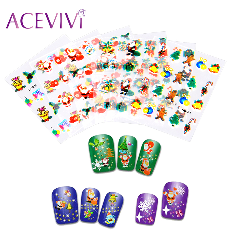 ACEVIVI 12 Sheets Christmas Snowflake Tree Deer 3D Nail Art Watermark Sticker Decal Tips DIY Nail Decorations Manicure Tools Hot 50 sheets mix color 3d design nail art sticker tips decal decorations beauty tools