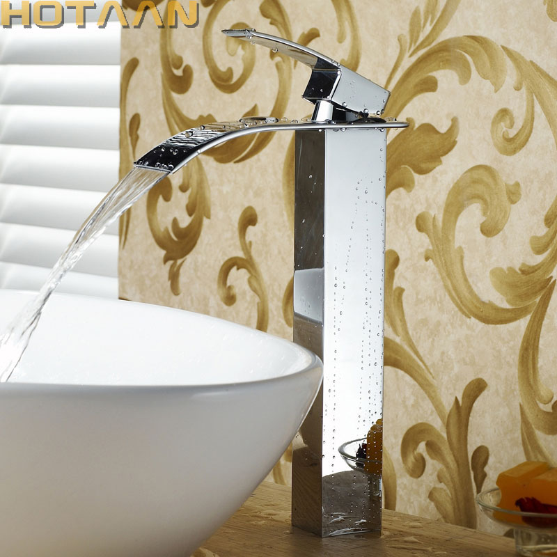 High Arch Polished Chrome  Waterfall Faucet Copper Square Basin Sink Brass Water Mixer Tap For Modern Bathroom YT-5030 bathroom sink drainer brass push dwon pop up chrome polished overflow hole basin parts faucet accessoriespjxsq003c y