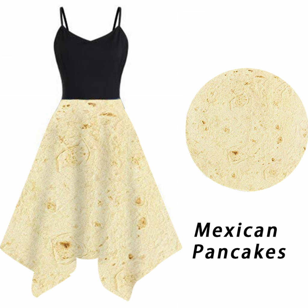 FREE OSTRICH Dress Women Vintage Mexican Pancake Print Party Formal Swing Beige Sling Noble Valuable Novel  Women Dress Summer