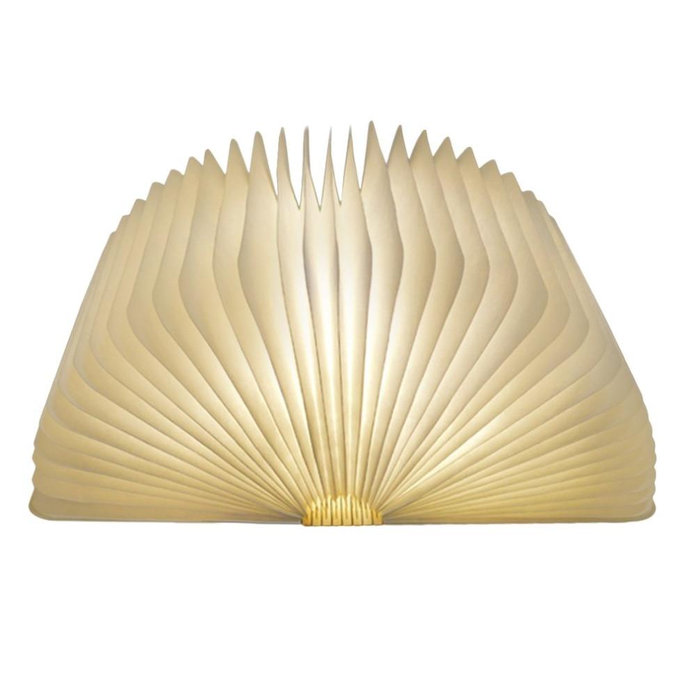 Luz LED recargable USB plegable de madera con forma de libro lámpara de escritorio luz nocturna para decoración del hogar luz blanca cálida Envío Directo