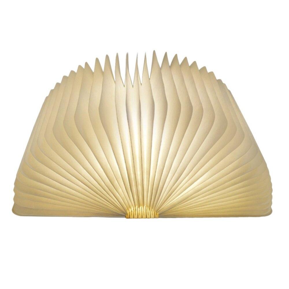 USB Aufladbare LED Faltbare Holz Buch Form Schreibtisch Lampe Nachtlicht Klemmleuchte für Home Decor Warme Weiß Licht Drop Verschiffen