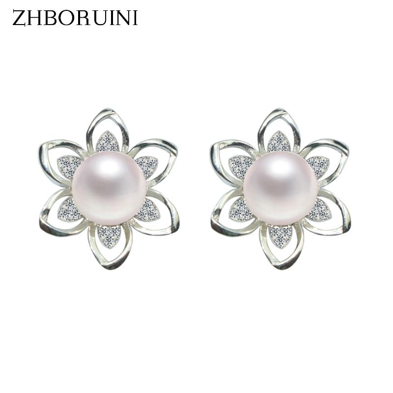 ZHBORUINI 2019 Pearl Earrings 925 Sterling Silver Pearl Jewelry For Women Natural Freshwater Pearl Earrings Flower Jewelry Gift