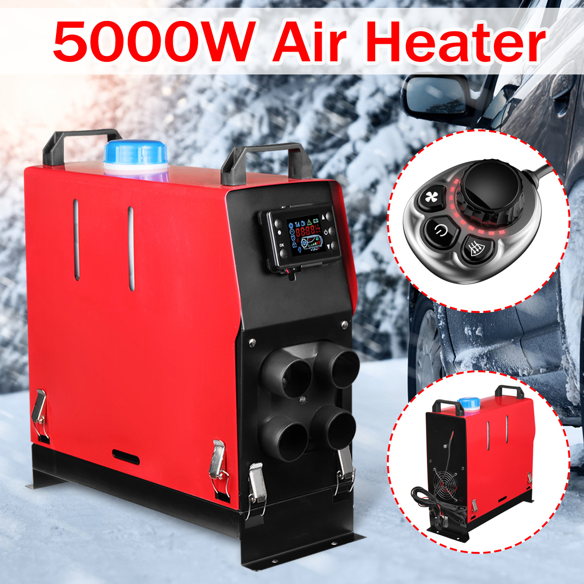 5000W Air diesels Heater 5KW 12V 4 Holes Car Heater For Trucks Motor-Homes Boats Bus +Newest Switch