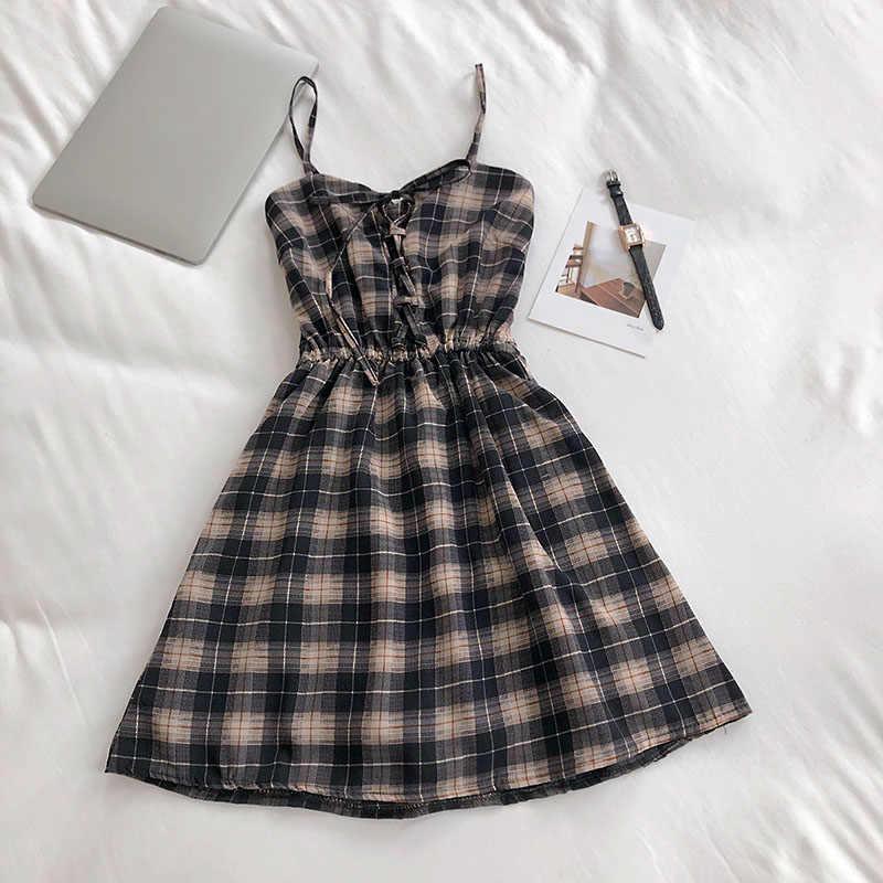Singrain Nữ Áo Len Kẻ Sọc Vintage Mùa Hè Dây Sundress Phong Cách Hàn Quốc Phối Ren Cami Váy Đầm Chữ A Đầm Ngắn