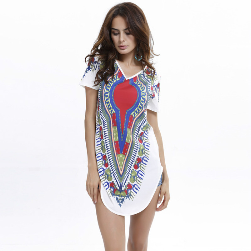 2017 New Summer Fashion Women Casual Sexy Short Sleeve Tribal Print Bronzing Dresses Loose Plus Size Long T Shirts Dress Vestido