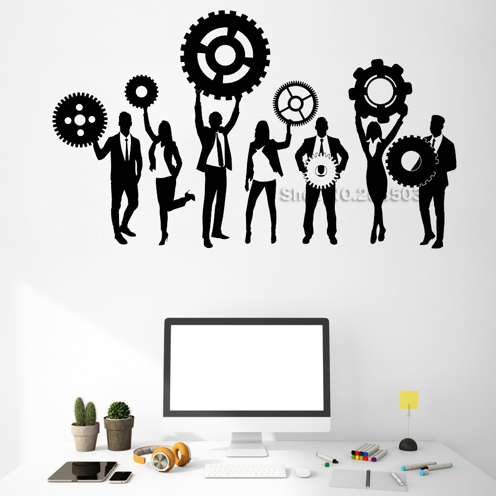 Teamwork Gears And Team Wall Decal Vinyl Business Work Office Interior Decor Unique Gift Art Removable Wall Stickers Hot LC524