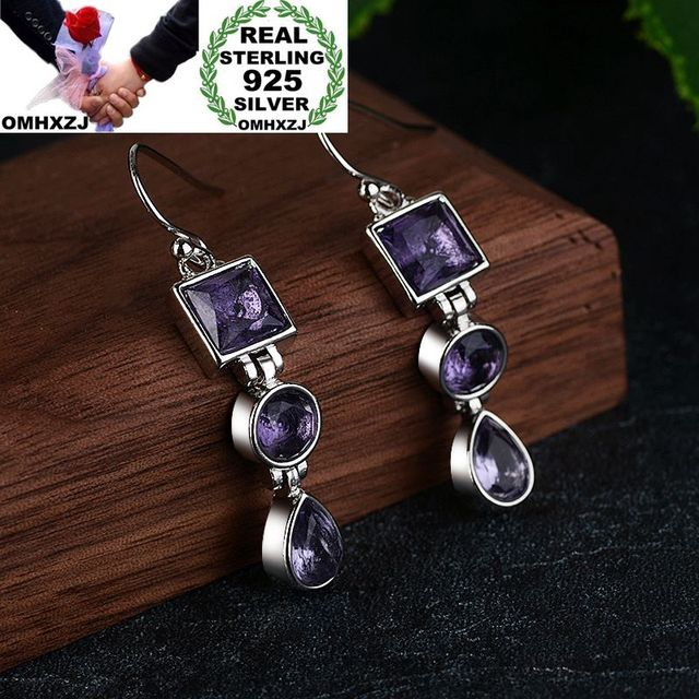 OMHXZJ Wholesale European Fashion Woman Girl Party Wedding Gift Geometric Amethyst 925 Sterling Silver Drop Earrings EA282