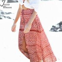Jessie Vinson Plus Size Bohemian Estilo de Impressão Lace up Dividir Mulheres Boho Maxi Saia Praia Férias de Verão Saias Longas Soltas saia