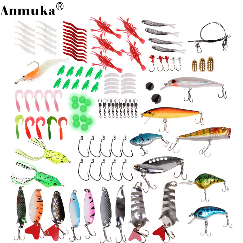 Anmuka Double Bait Suit High Quality Multi Fishing Lure Mixed Colors Plastic Metal Bait Soft Lure Kit Fishing Tackle trulinoya ray frog style soft plastic fishing lure bait green