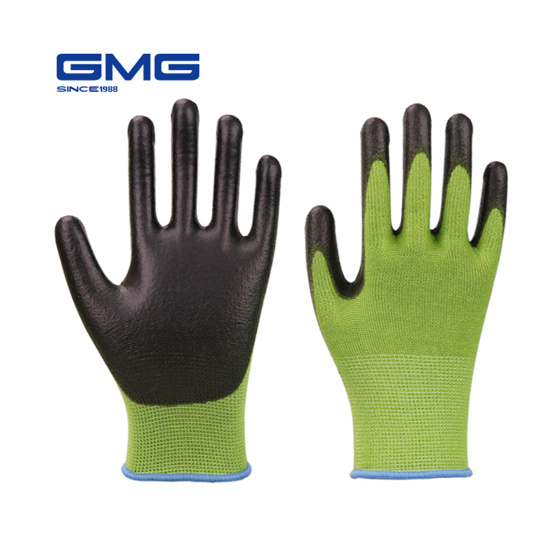 Anti-UV Green Bamboo Work Gloves For Garden GMG Antimicrobial Black PU Work Safety Gloves Working Gloves For Women And Man