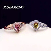 KJJEAXCMY Natural Tourmaline RING 925 Sterling Silver Plated Sterling Silver Ring Red Tourmaline Multicolored Rings Alive
