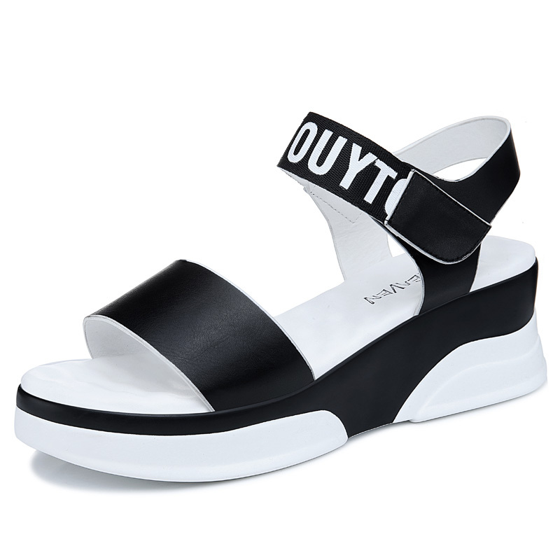 New Top Quality Fashion Hook & Loop Peep Toe Leisure Women Sandals Popular Wedges Thick Sole Platform Ladies Summer Shoes phyanic 2017 summer women sandals platform wedges sandals hook