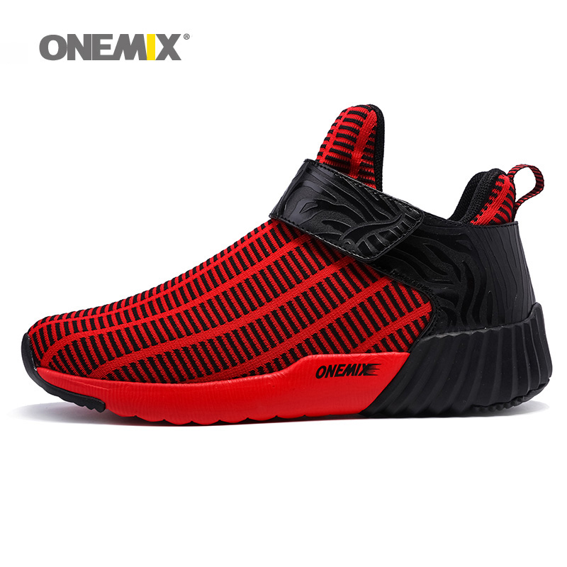 ONEMIX Men Running Shoes for Women High Top Walking Sneakers Trail Sports Outdoor Red Nice Trends Athletic Trainers Boots 2018 2018 max woman running shoes women trail nice trends athletic trainers white high sports boots cushion outdoor walking sneakers