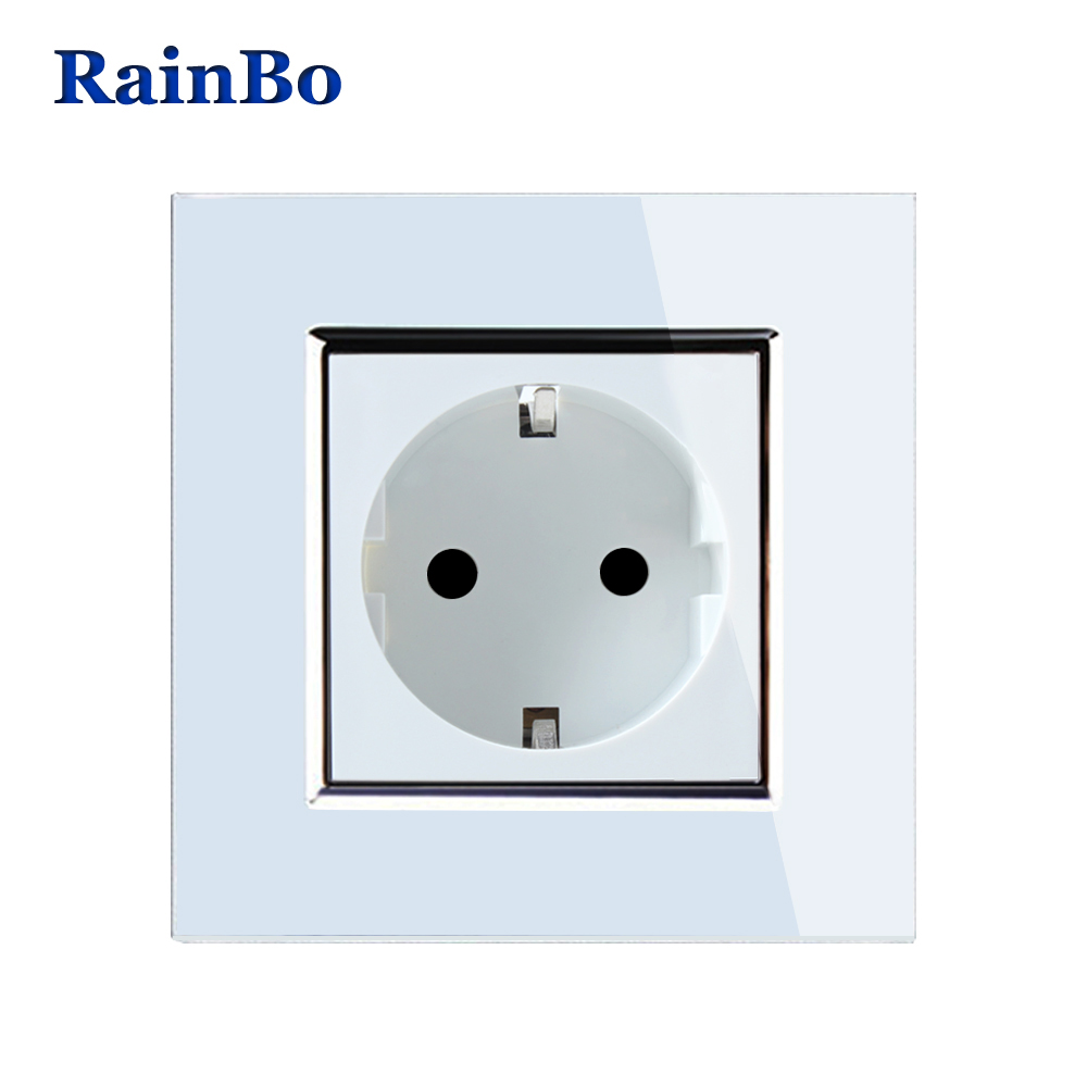 Luz led de pared de la UE enchufe estándar de la UE enchufe blanco Panel de vidrio de cristal AC 110 ~ 250 V 16A alimentación de pared hembra A18EW/B