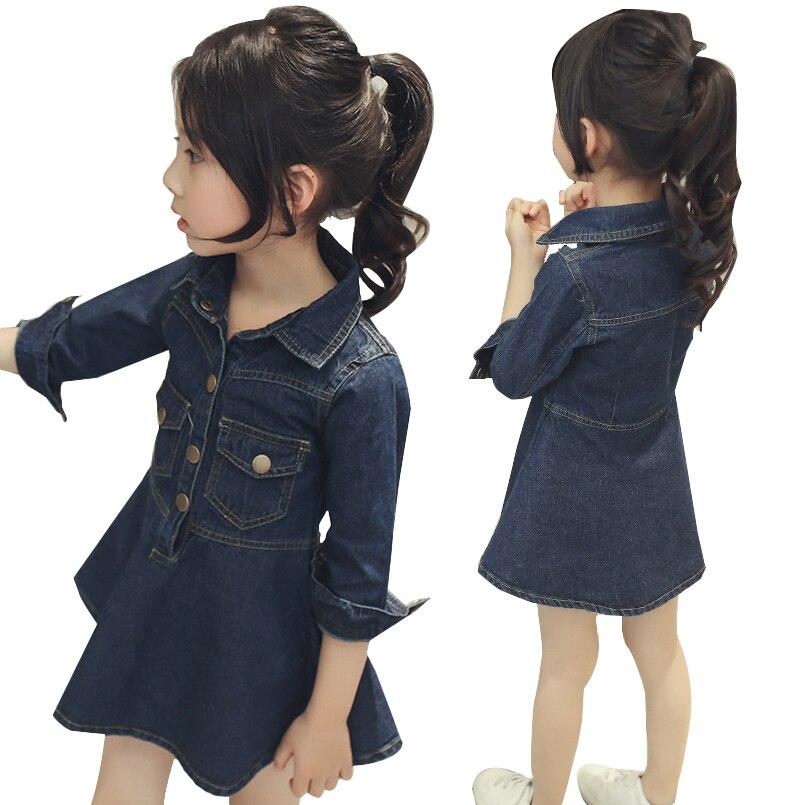 Gaun anak-anak Untuk Anak Perempuan Pakaian Anak-anak Gaun Denim Lengan Panjang Turn-Down Kerah Kemeja 2 4 6 8 10 12 Tahun 2017 Merek Pakaian