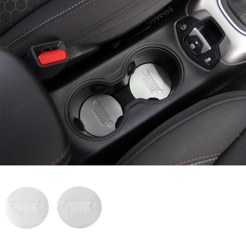 Image 3 - 2pcs Front Cup Water Holder Buttom Cover Trim Alloy Cup Pad For Jeep Compass 2017-in Car Anti-dirty Pad from Automobiles & Motorcycles