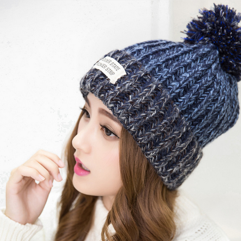 2016 New Fashion Woman's Warm Woolen Winter Hats Knitted Fur Cap For Woman Sooner State Letter Skullies & Beanies 5 Color Gorros skullies beanies winter woman fashion knitting hats with pompom beanies girls warm letter b cap