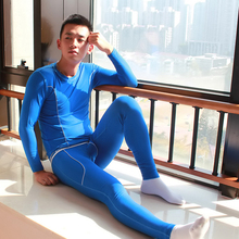 Free shipping New men's long johns set bamboo fibre slim underwear basic o-neck thermal underwear set 7 colors S M L