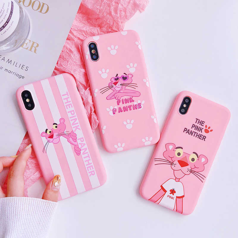 Pink Panther Patterned Case For iPhone 6 6s 7 Plus Cover Relief Scrub Soft Silicone Protect Cover For iPhone 5S SE 8 Plus X Capa
