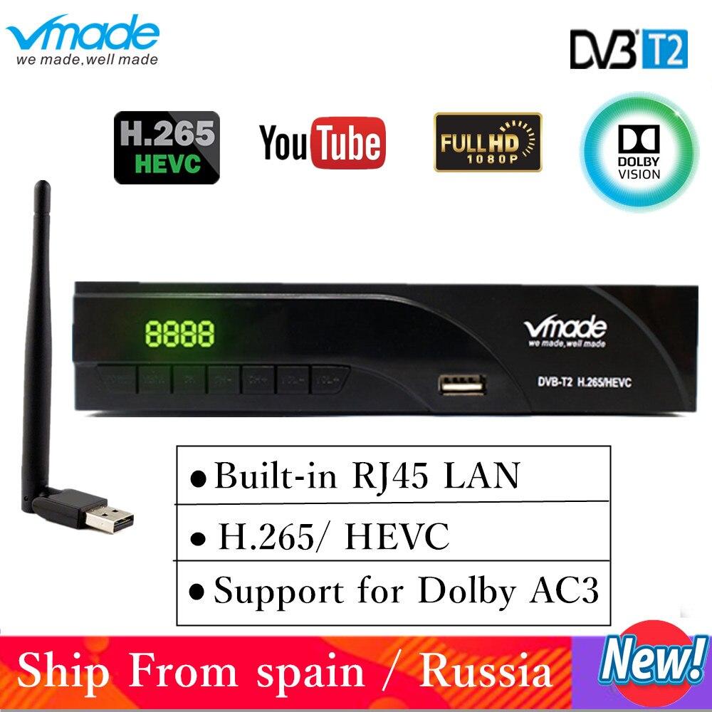 Holanda DVB-T2 digital FTA receptor suporta H.265/HEVC RJ45 LAN DVB-T dvb t2 venda quente Europa Rússia República Checa alemanha