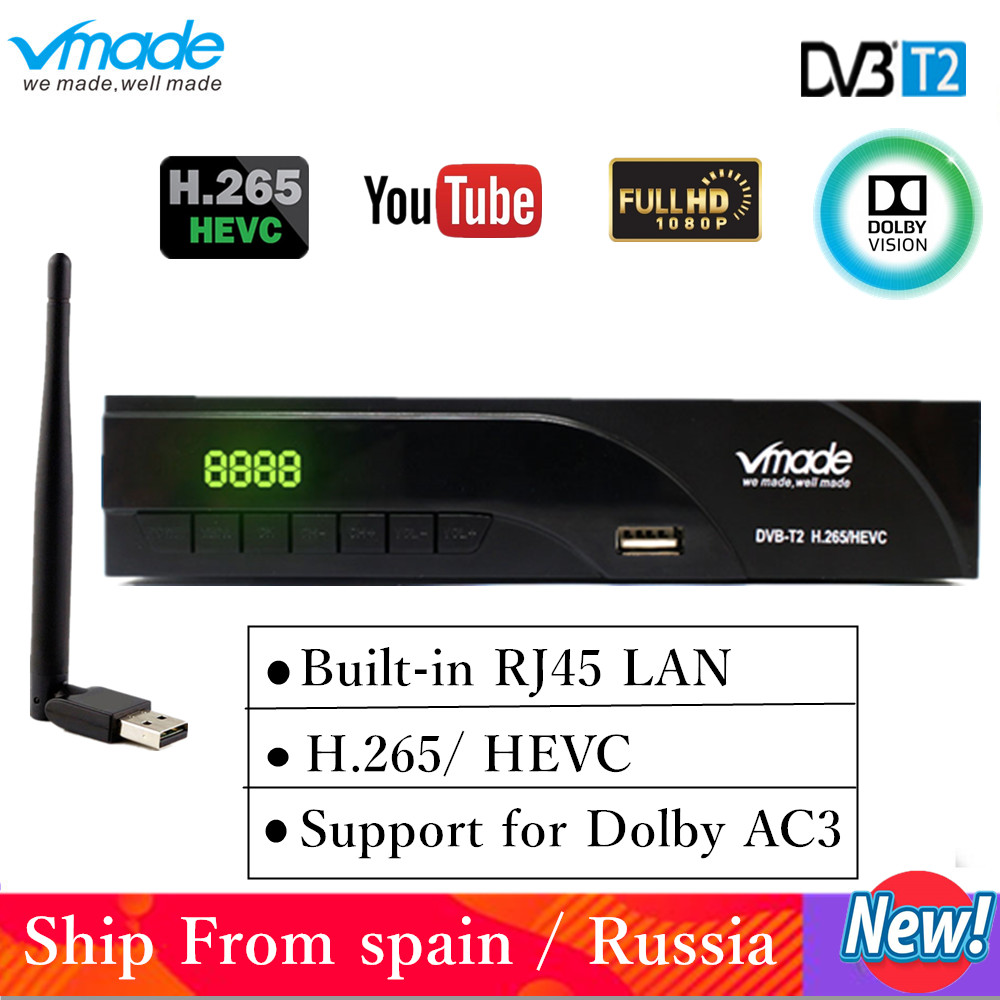 Netherlands DVB T2 digital receiver supports FTA H.265/ HEVC DVB T RJ45 LAN dvb t2 hot sale Europe Russia Czech Republic Germany-in Satellite TV Receiver from Consumer Electronics