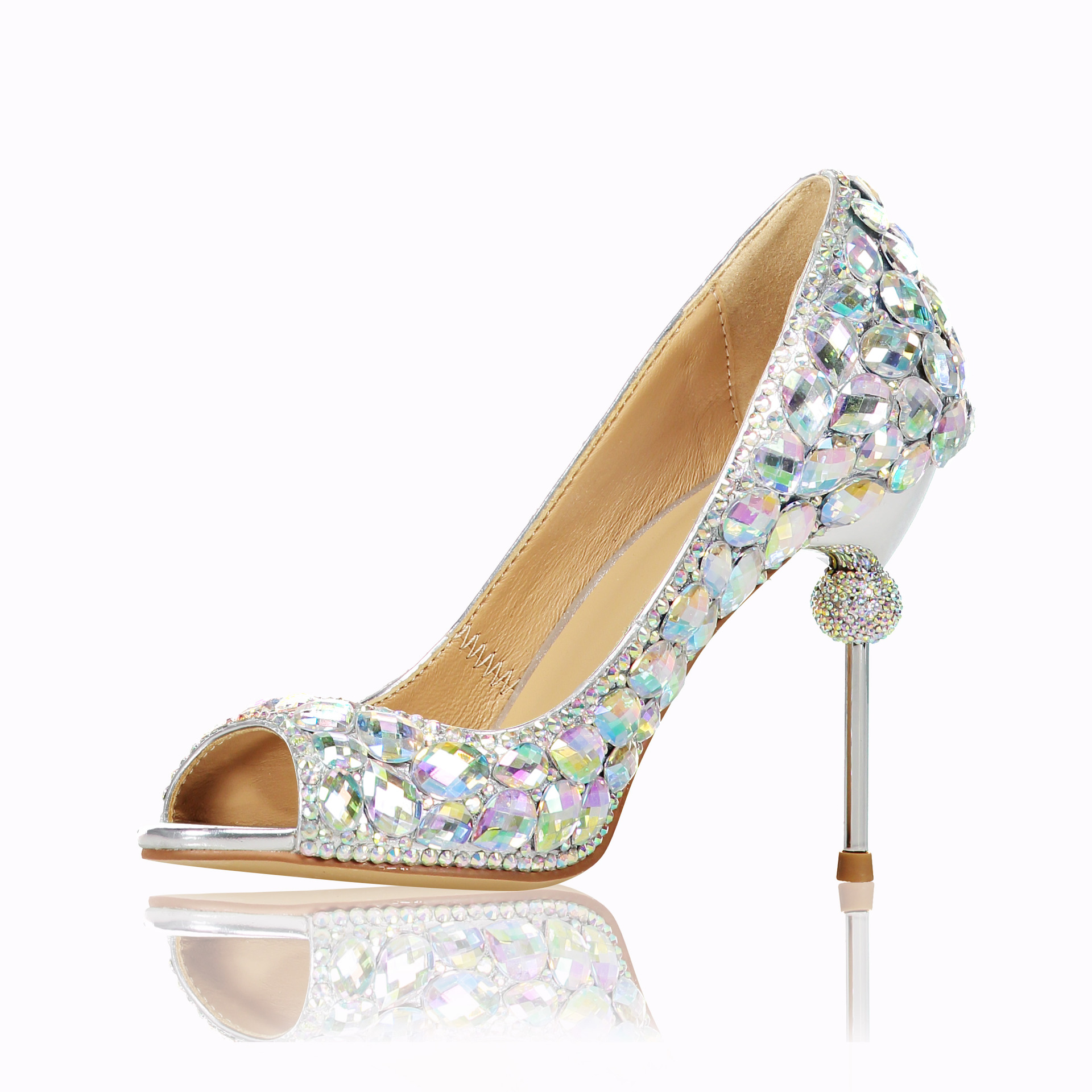 ACILICI0406 Temperament Luxury Glass Water Drill Color Diamond Fish Mouth Fine-heeled Fine Wedding Shoes  Women SandalsACILICI0406 Temperament Luxury Glass Water Drill Color Diamond Fish Mouth Fine-heeled Fine Wedding Shoes  Women Sandals