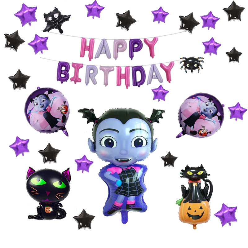 Vampire Girl Pentagram Witch Helium Foil Balloons Children Toys  Halloweenparty Birthday Party Decorations Kids