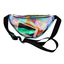 Női divat lézer fényvisszaverő deréktáska áttetsző válltáska csomagtáska
